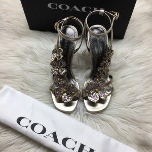 Coach Metallic Floral Heeled Sandal 7.5M
